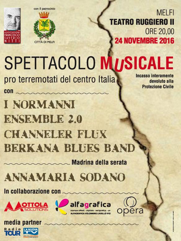 locandina spettacolo musicale pro terremotati